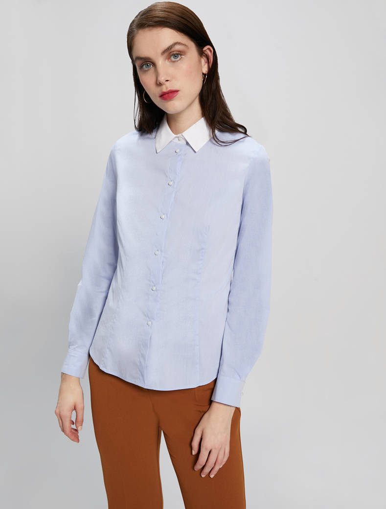 Contrasting collar shirt - light blue - pennyblack
