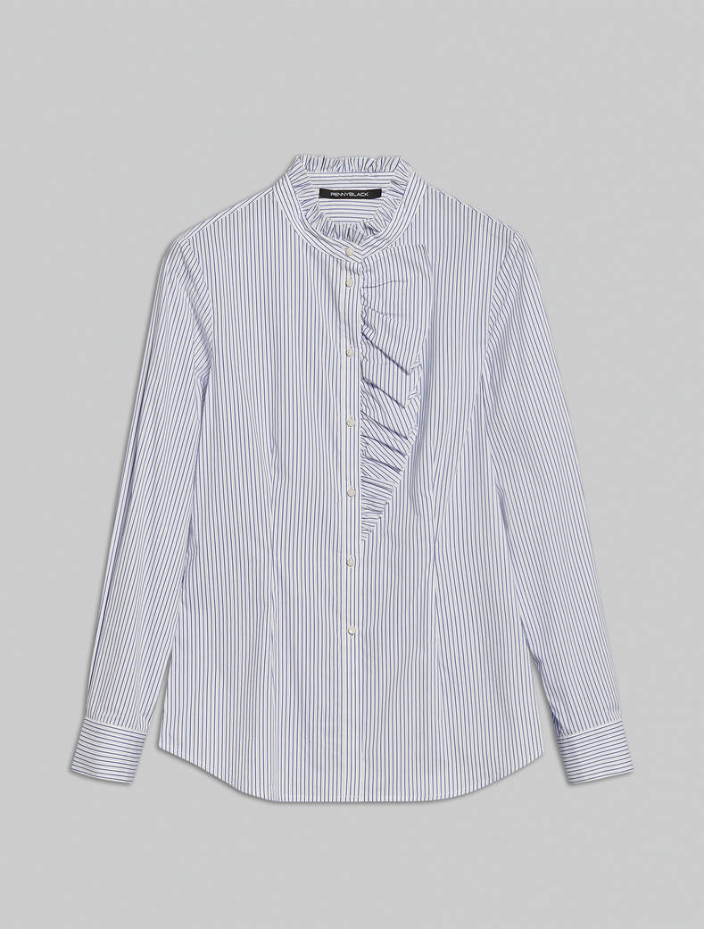 Ruched poplin shirt - light blue pattern - pennyblack