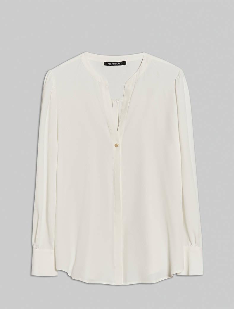 Crêpe de Chine shirt - white - pennyblack