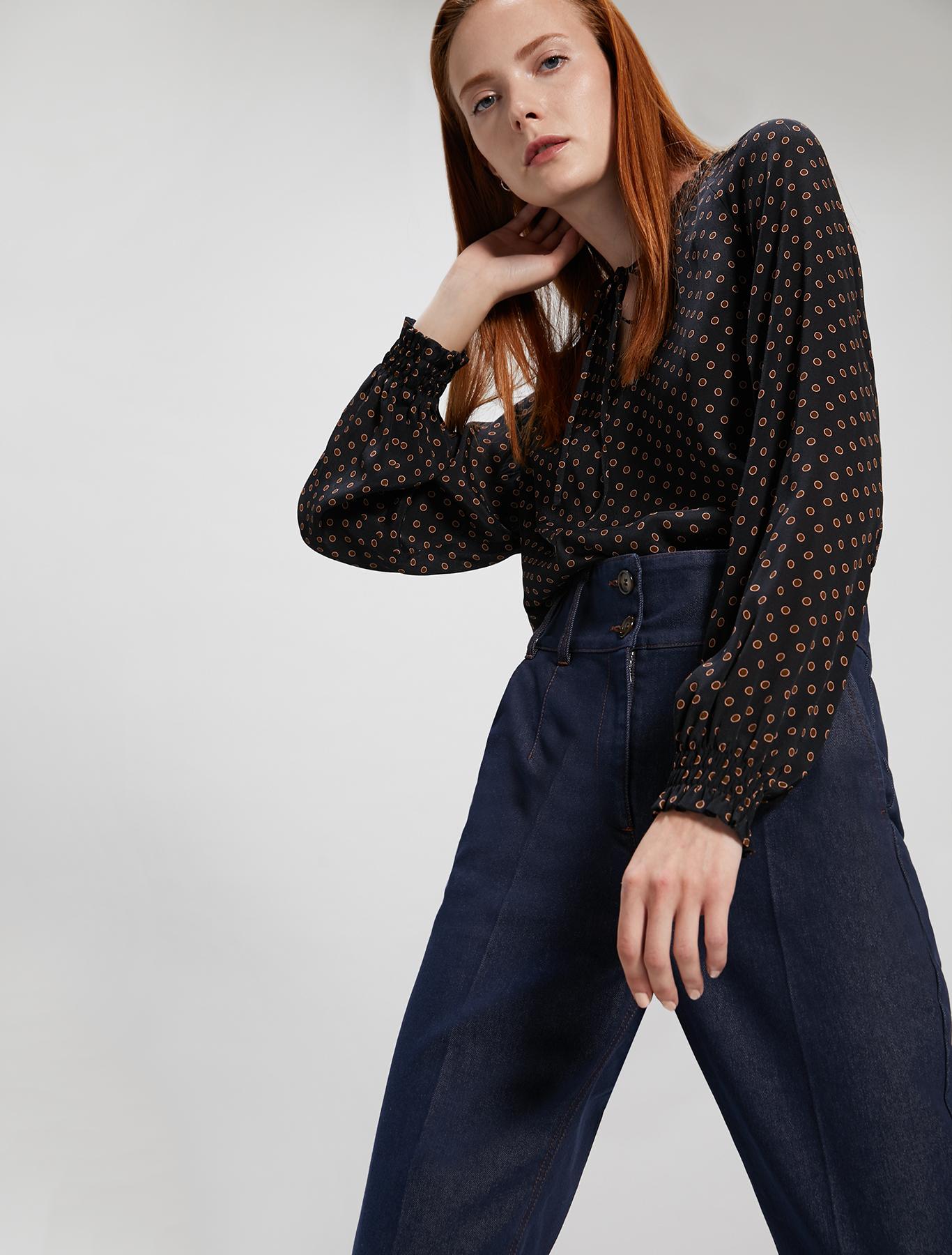 Crêpe de Chine blouse - black pattern - pennyblack