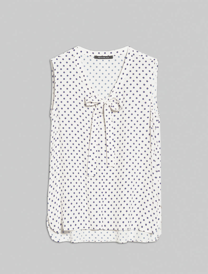 Crêpe de Chine top - white pattern - pennyblack