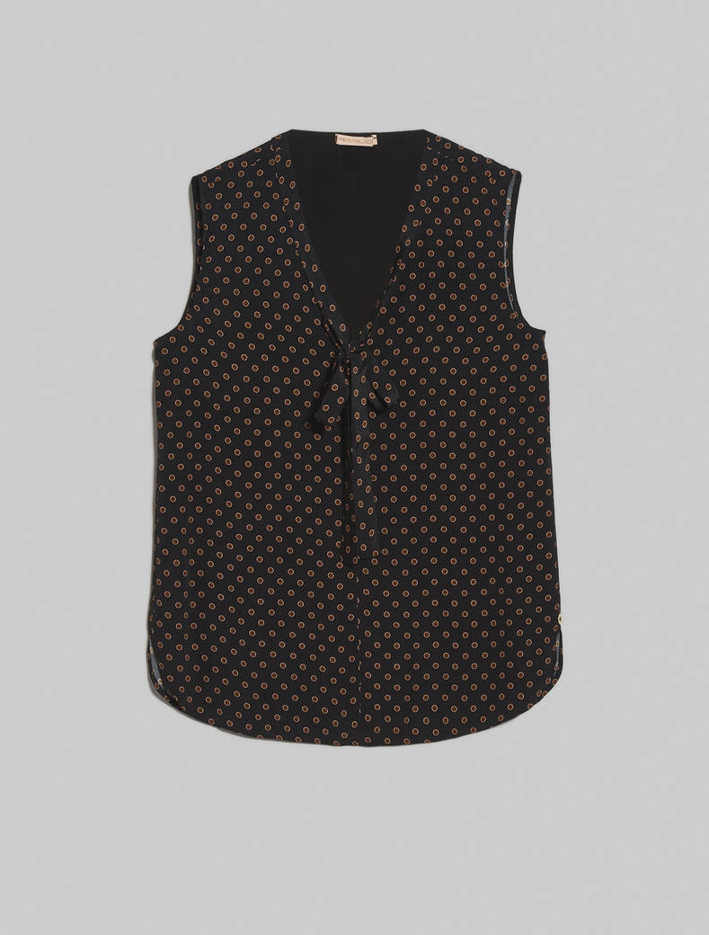 Crêpe de Chine top - black pattern - pennyblack