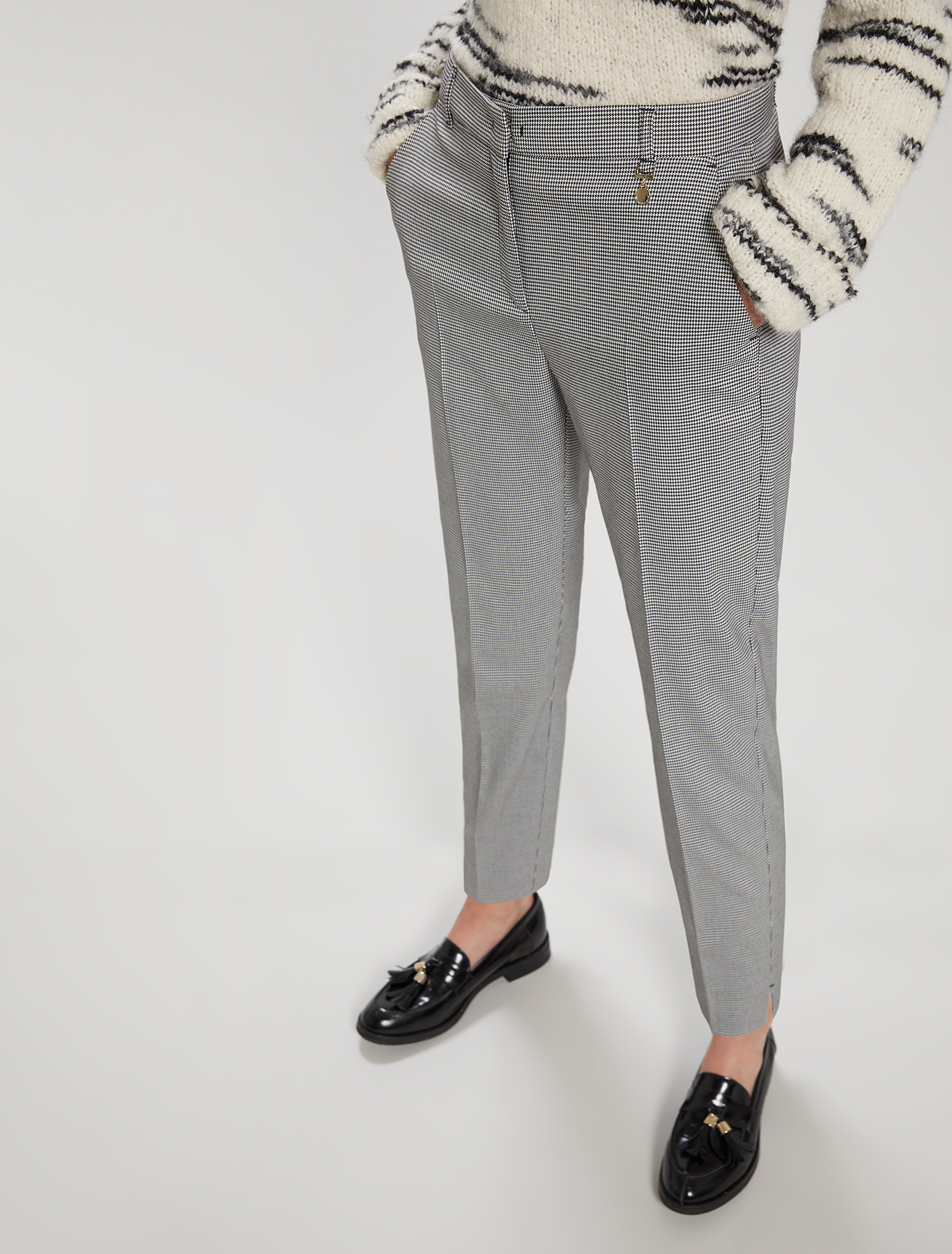 Slim-fit trousers - white pattern - pennyblack
