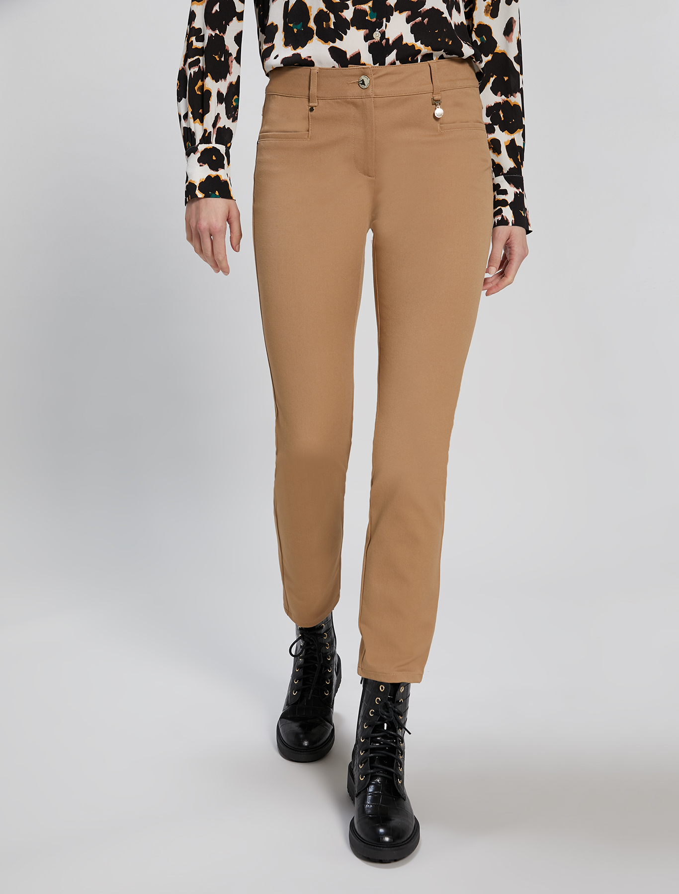 Skinny-fit tricotine trousers - camel - pennyblack