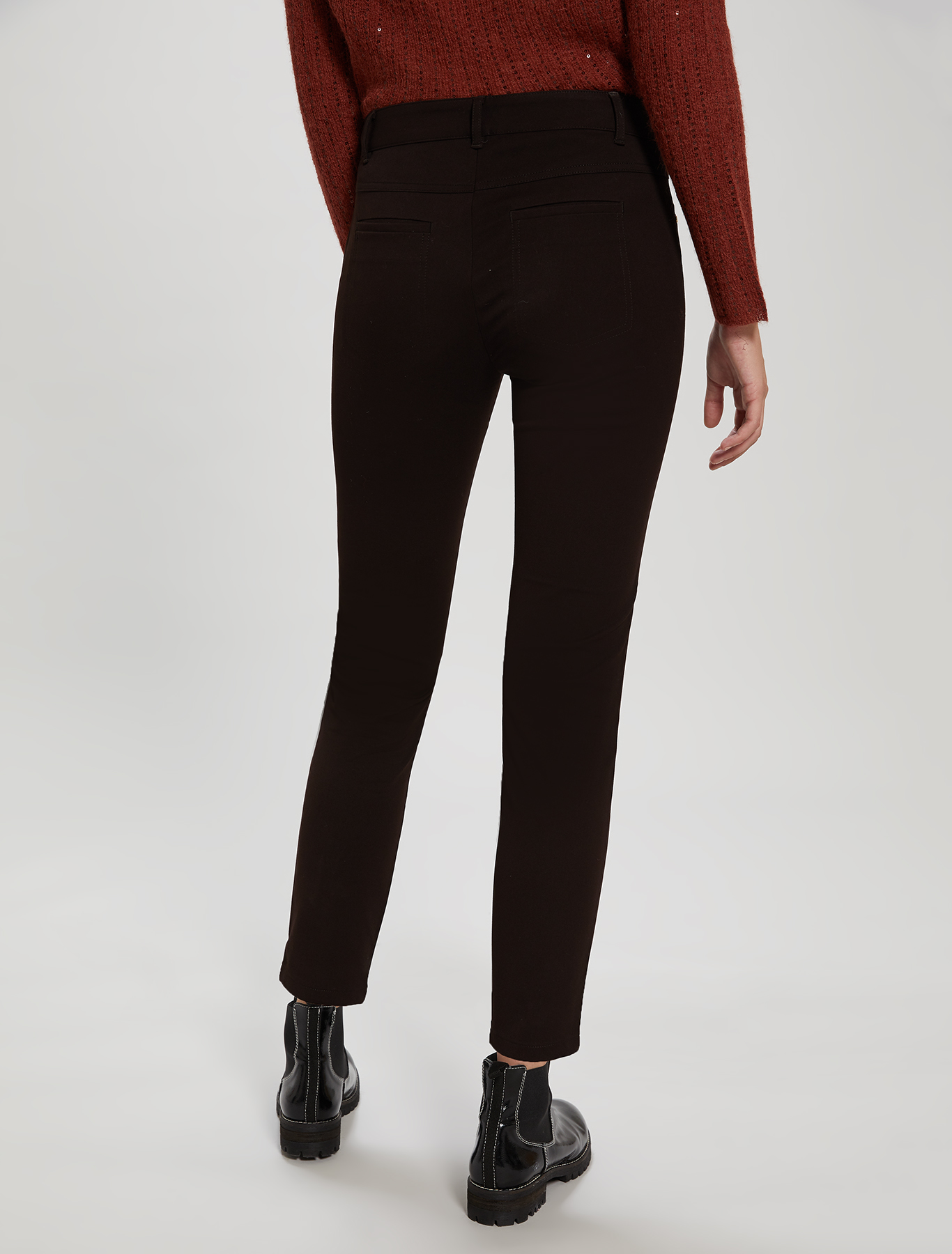 Skinny-fit tricotine trousers - brown - pennyblack