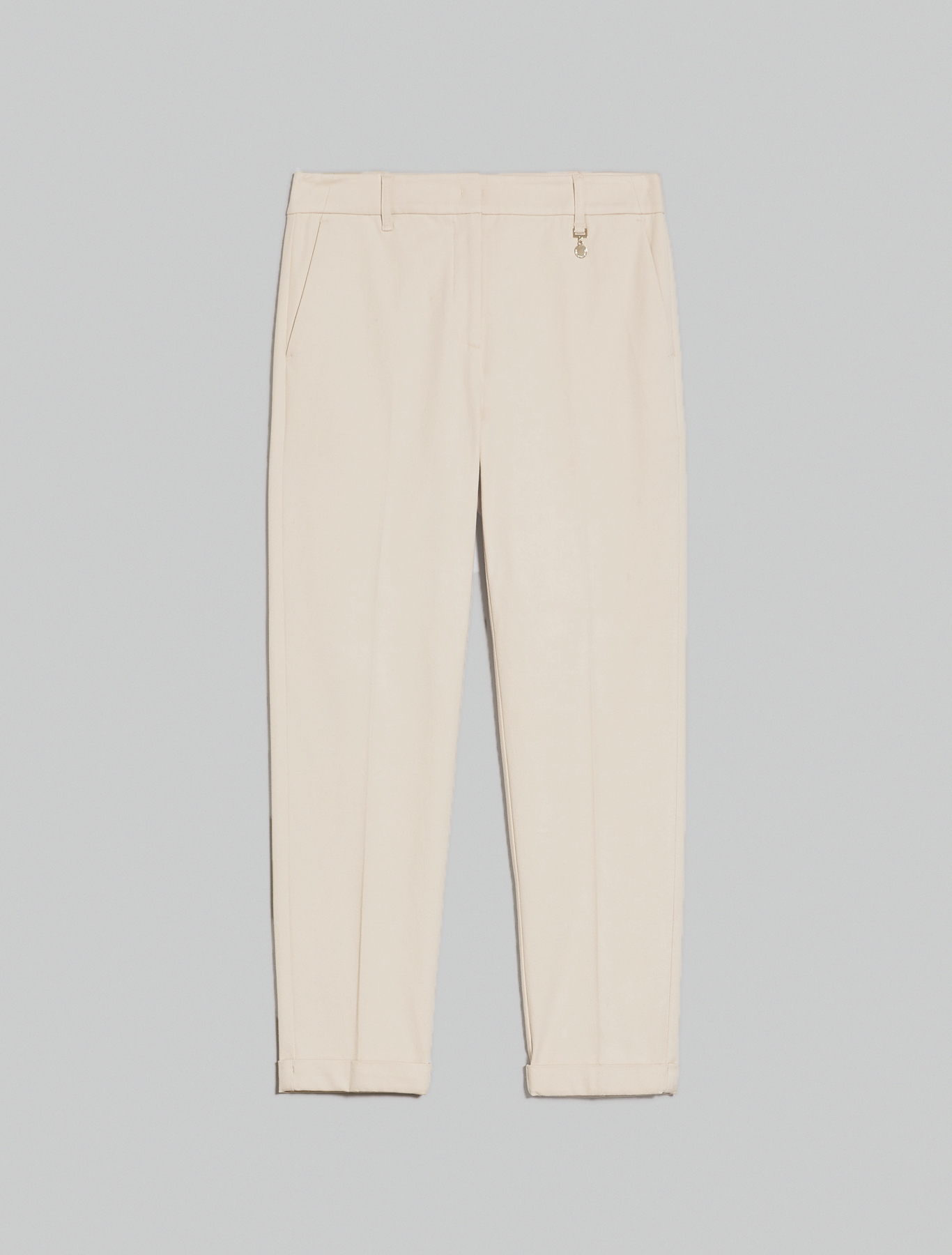 Slim-fit tricotine trousers - ivory - pennyblack