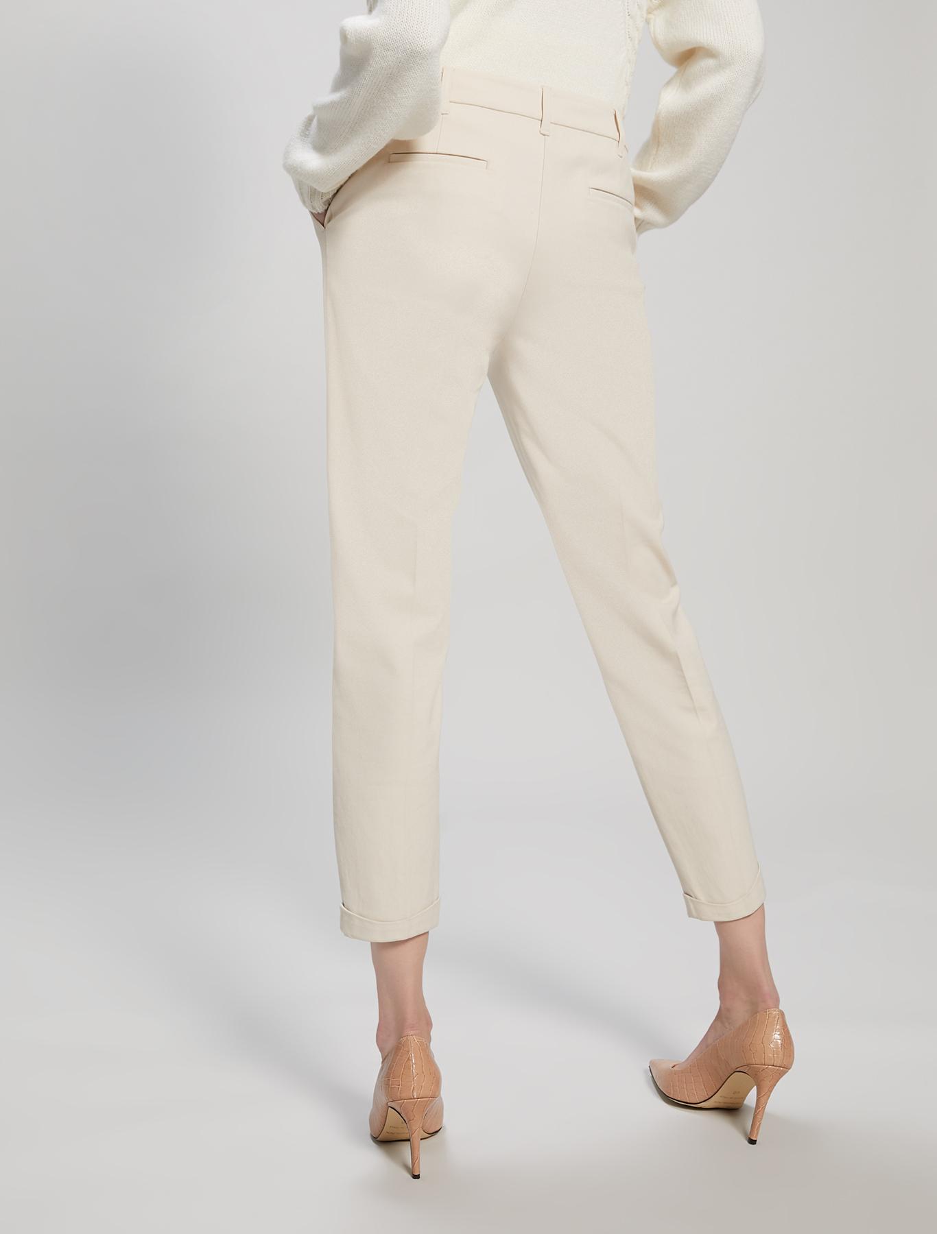 Pantaloni slim in tricotina - bianco avorio - pennyblack
