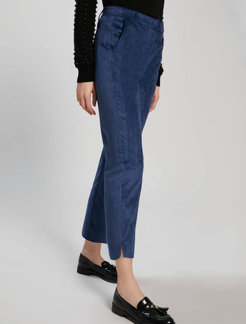 Slim velvet trousers - midnight blue - pennyblack