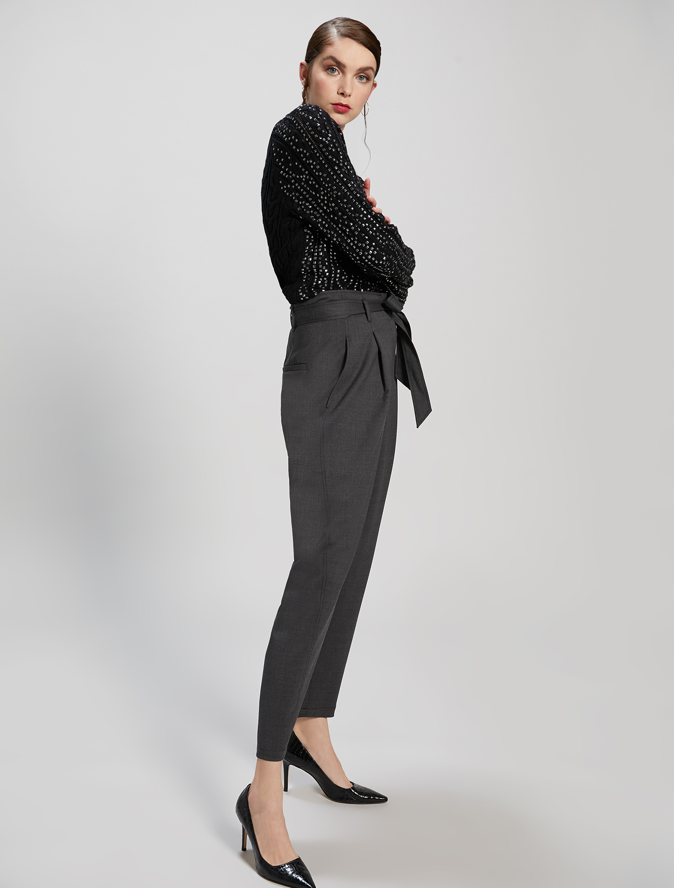 Wool twill trousers - dark grey - pennyblack