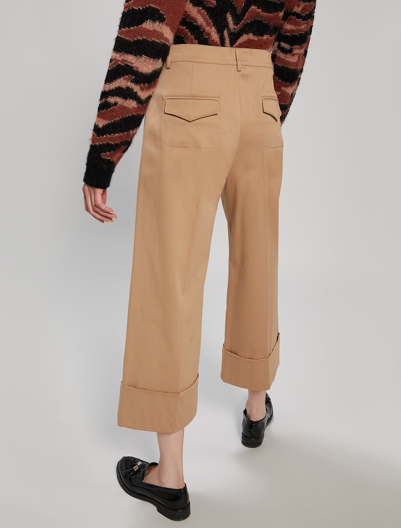 Cotton satin trousers - camel - pennyblack
