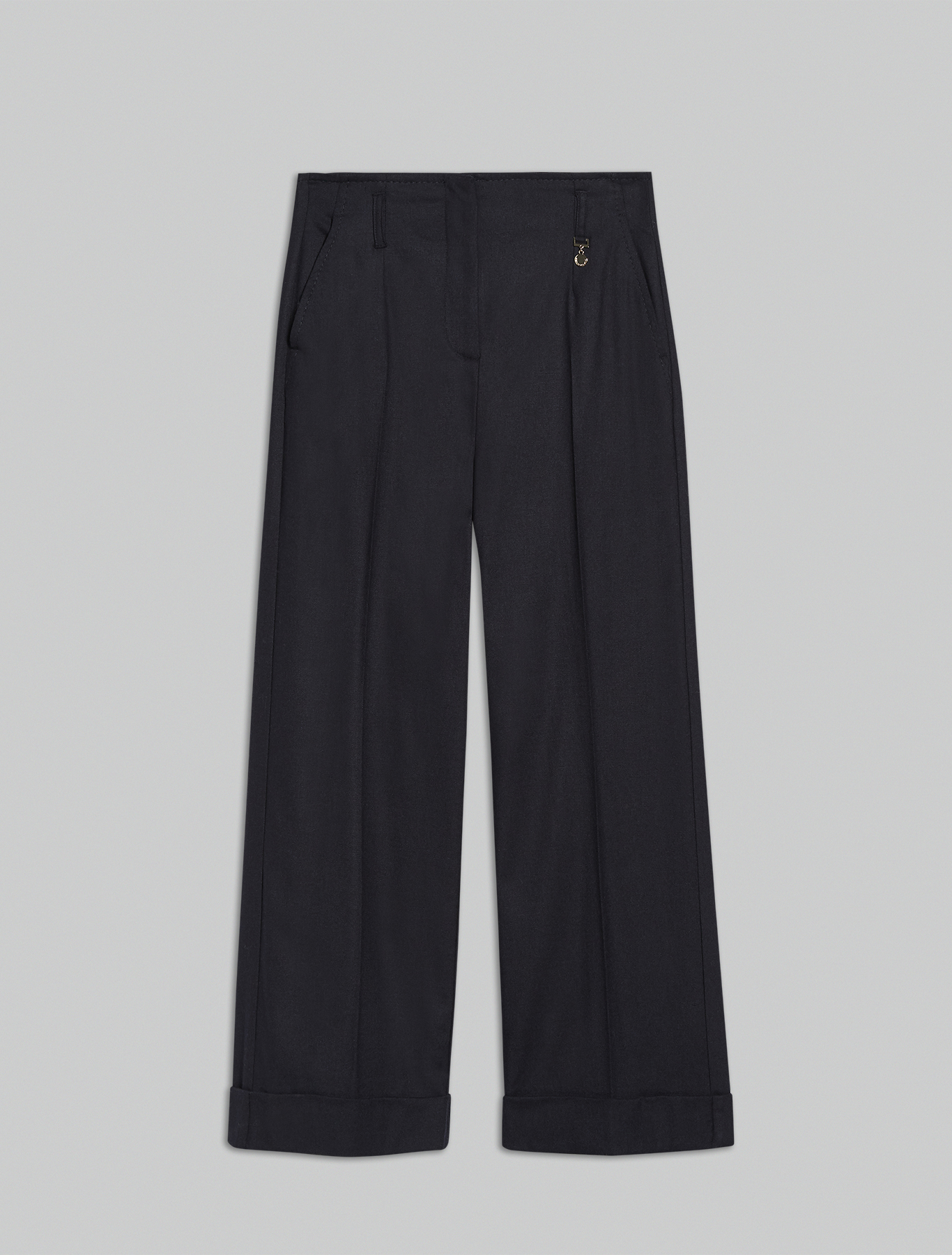 Wide-leg trousers with turn-ups - midnight blue - pennyblack