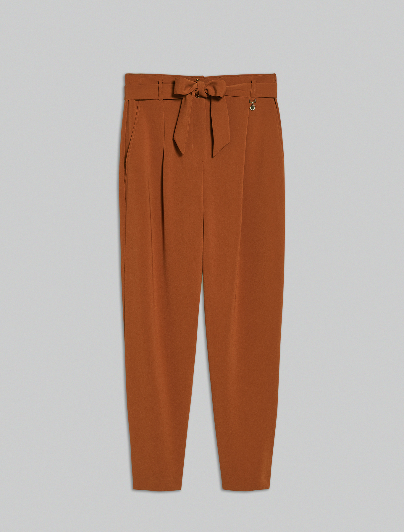 Flowing belted trousers - bronze - pennyblack
