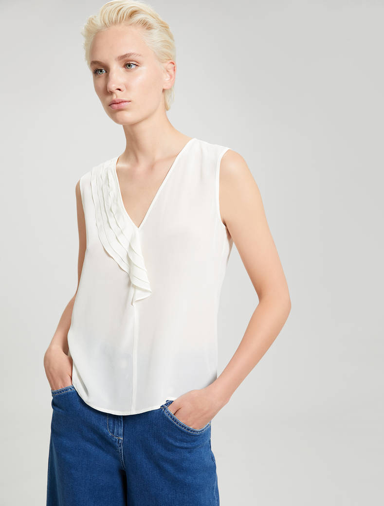 Flounced silk top - ivory - pennyblack