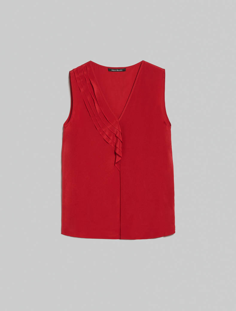Flounced silk top - red - pennyblack