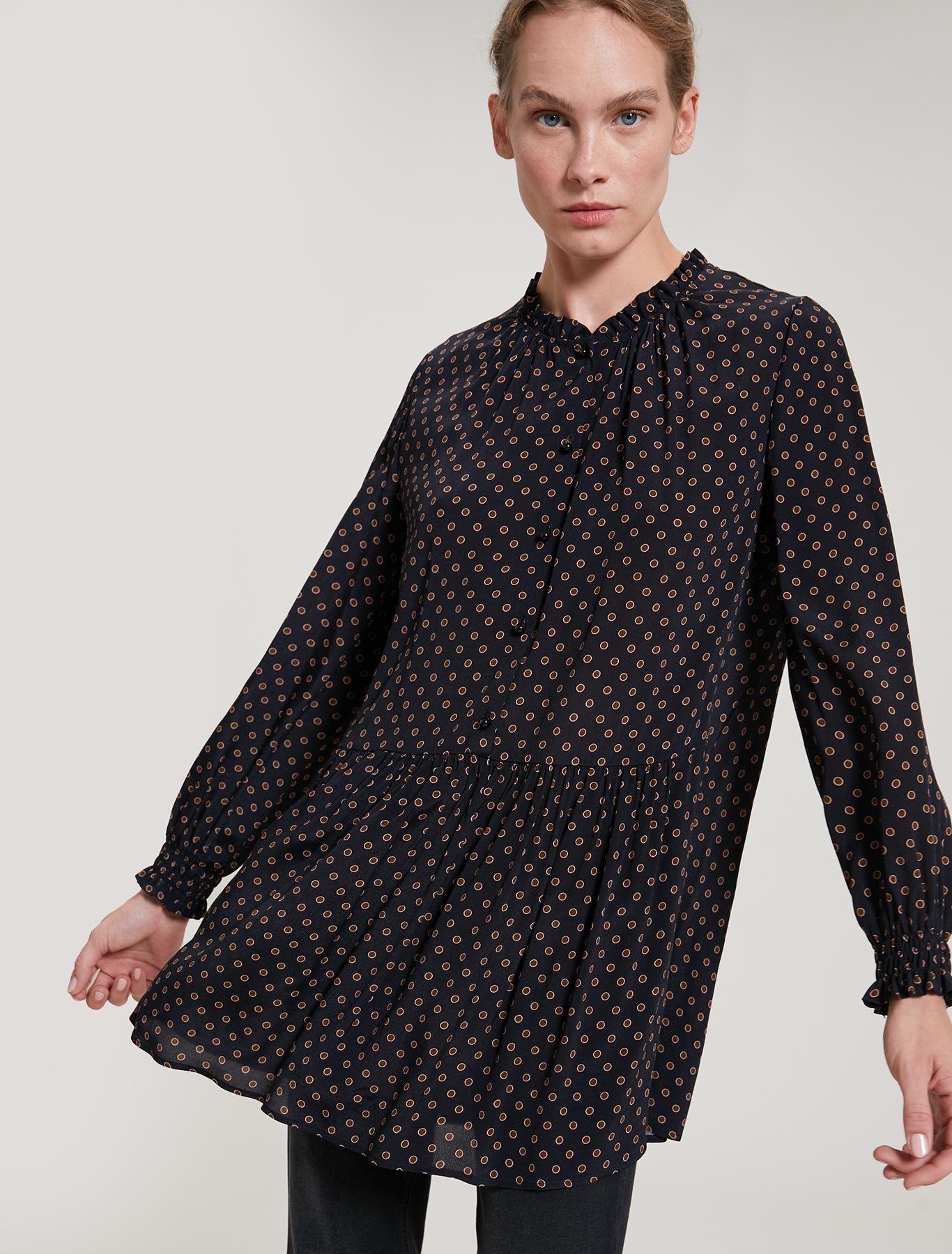 Crêpe de Chine tunic - black pattern - pennyblack