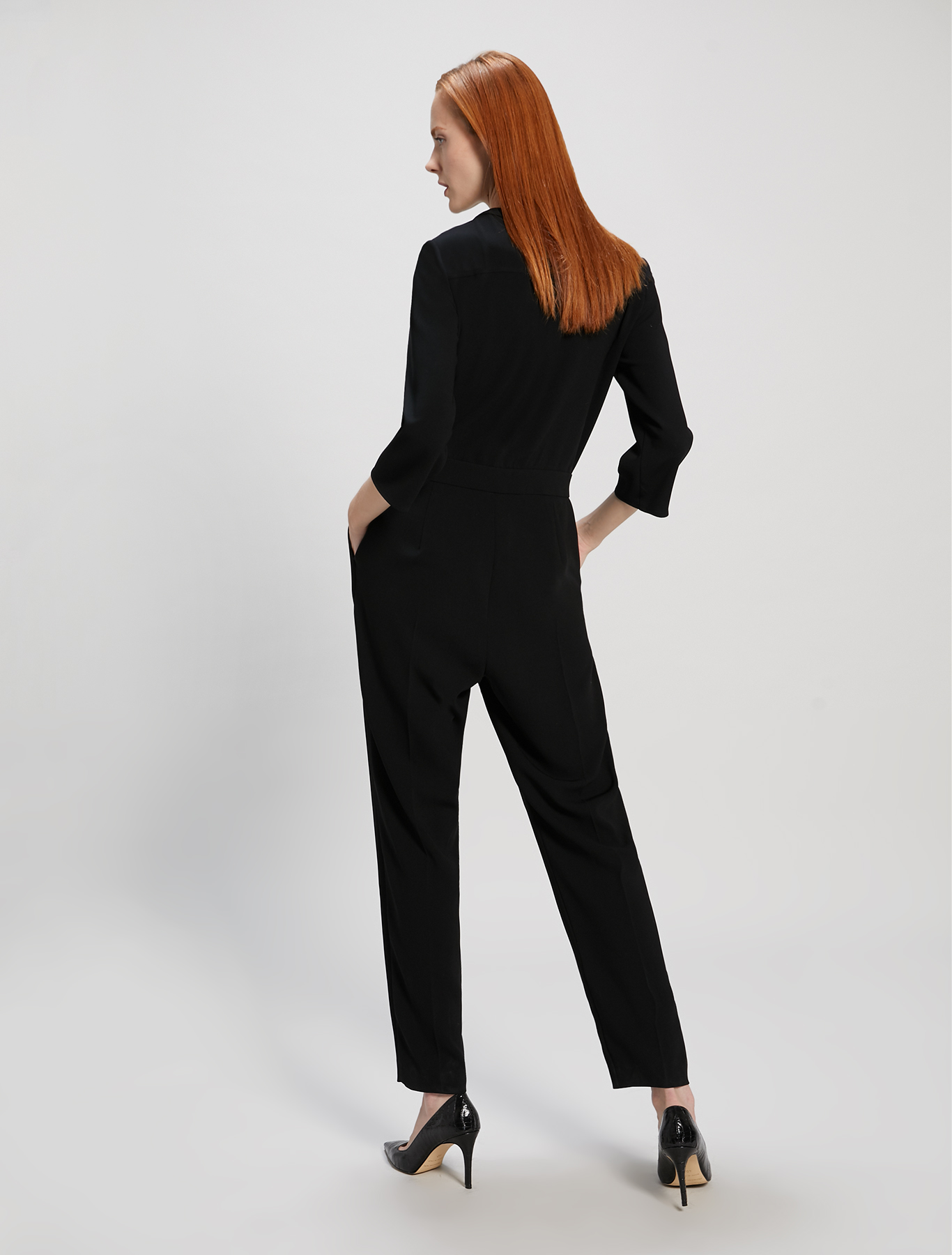 Flowing fabric jumpsuit - black - pennyblack