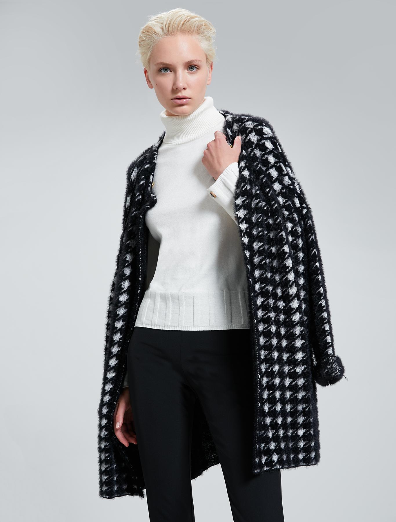 Houndstooth cardi-coat - black - pennyblack