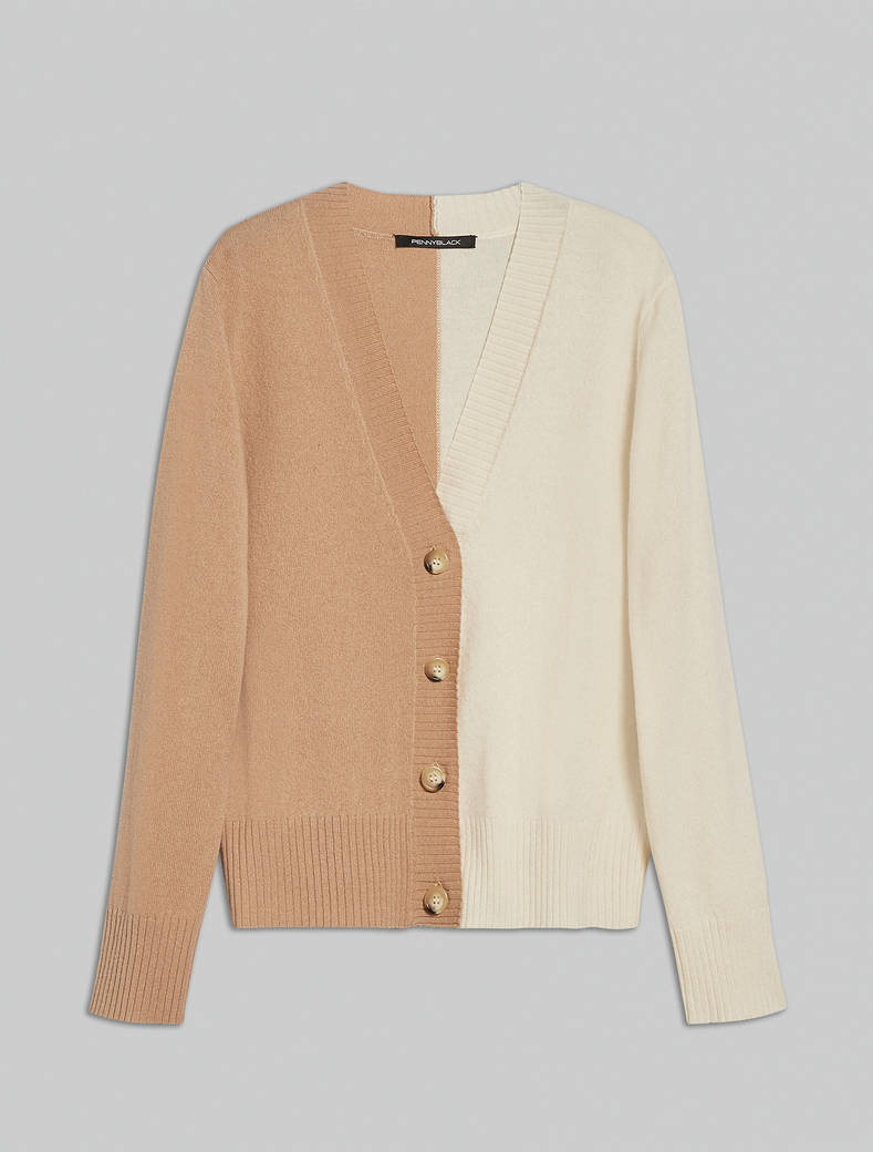 Wool and cashmere cardigan - camel pattern - pennyblack