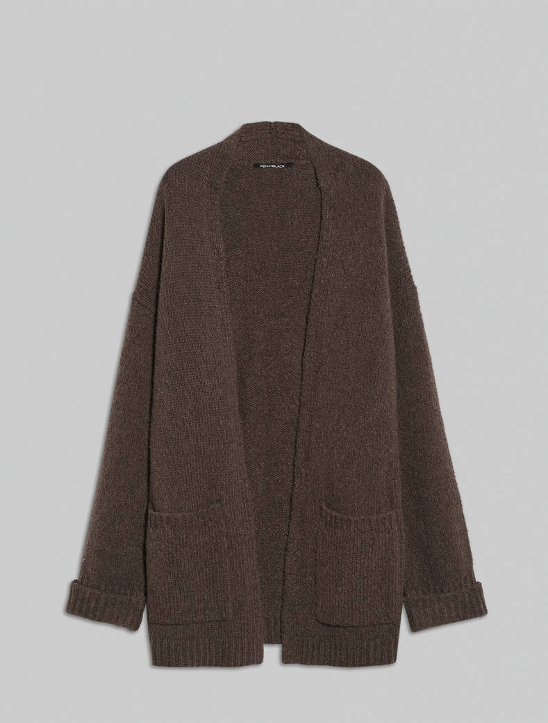 Wool and alpaca cardigan - brown - pennyblack