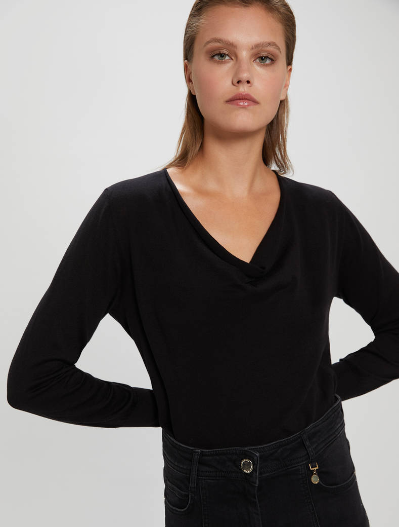 Cotton and silk jumper - black - pennyblack