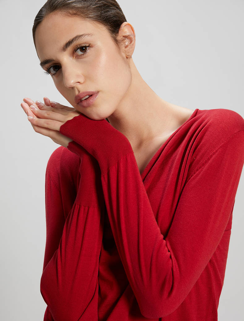 Cotton and silk jumper - red - pennyblack