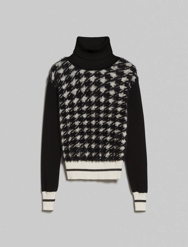 Houndstooth turtleneck - black - pennyblack