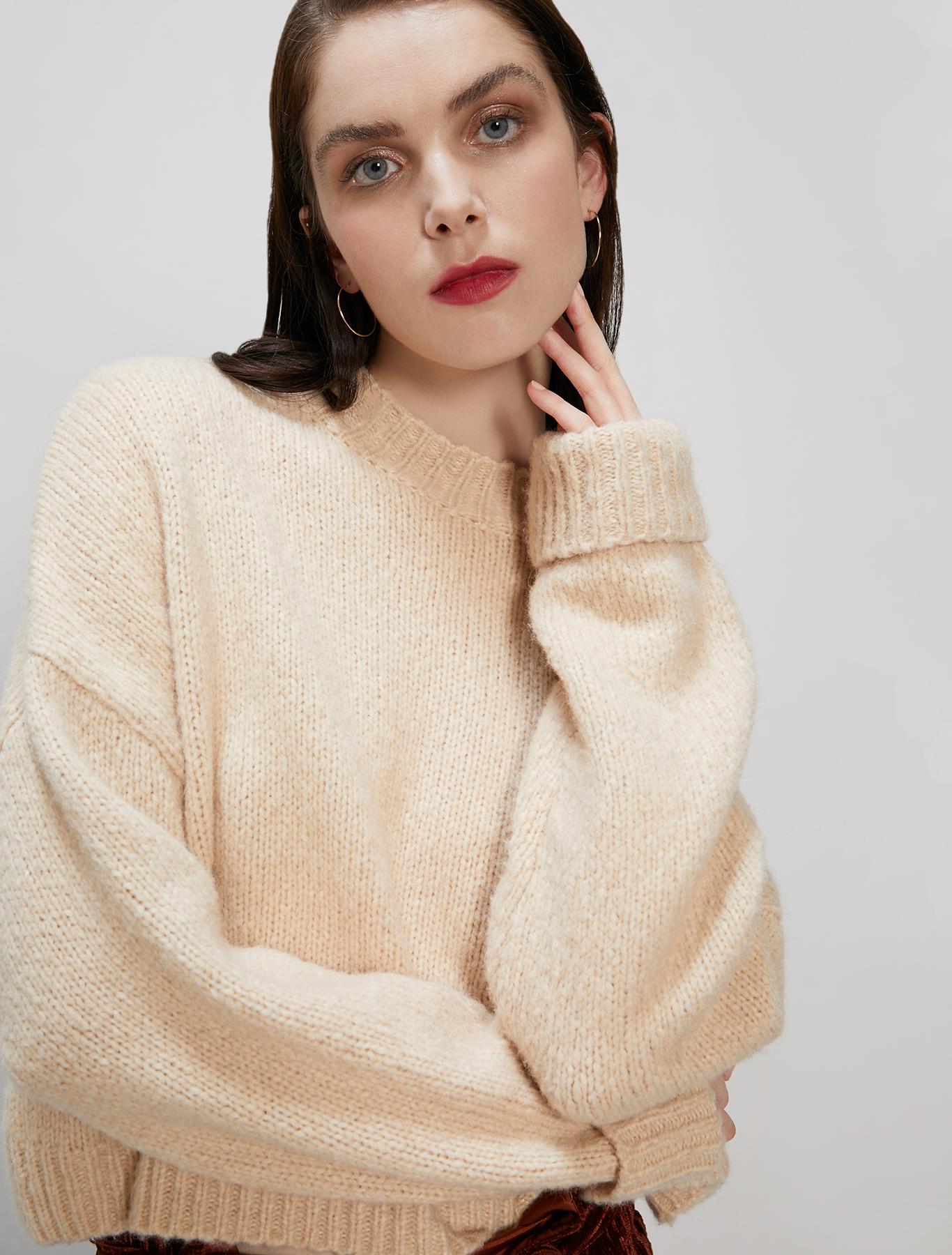 Wool-alpaca blend jumper - camel - pennyblack