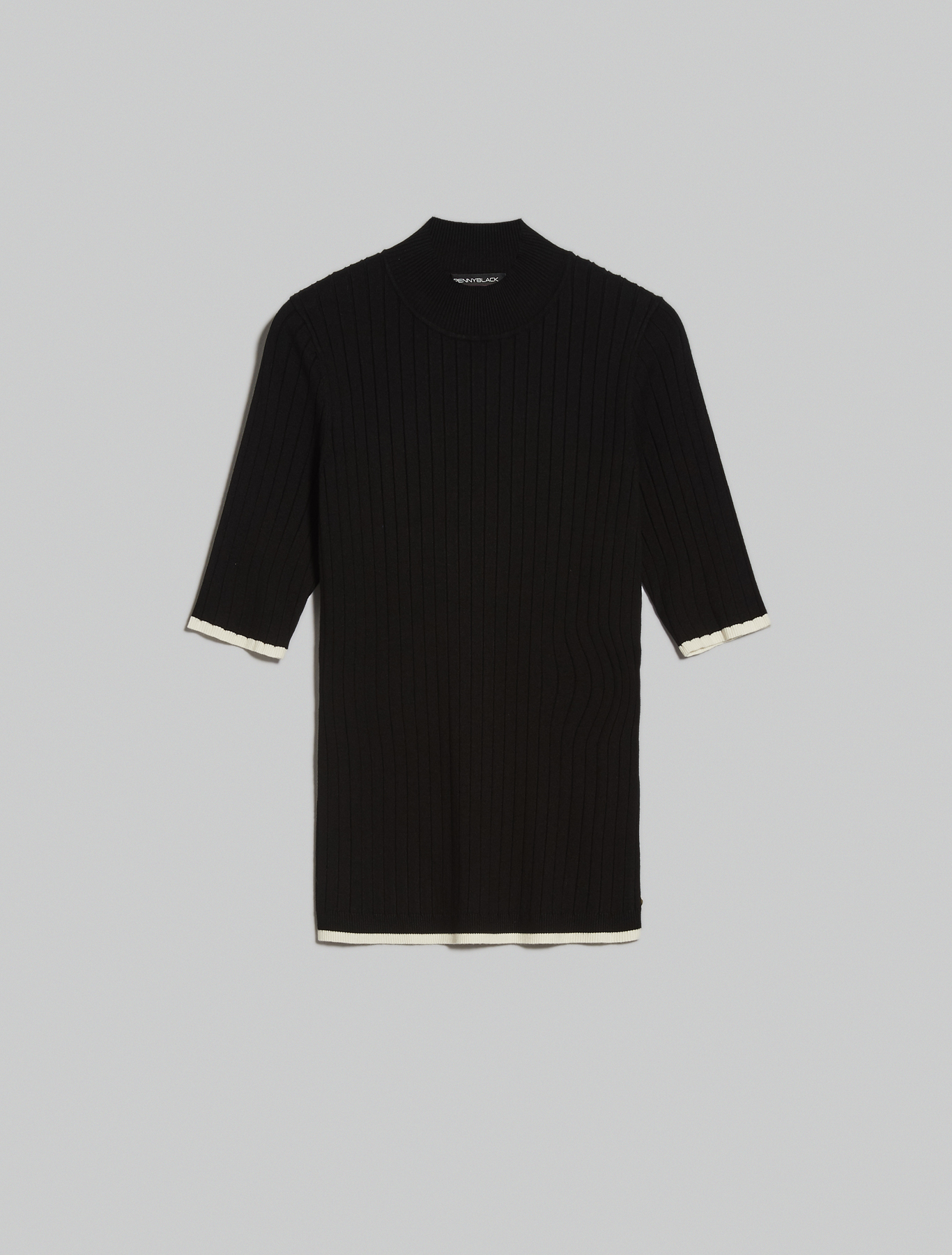 Ribbed polo neck jumper - black - pennyblack