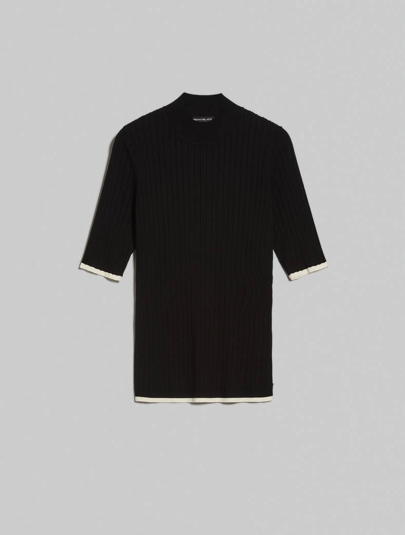 Ribbed polo neck jumper - black - pennyblack