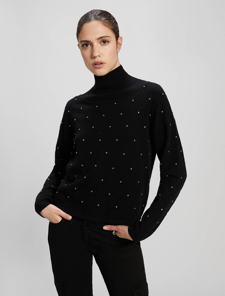 Jumper with studs and diamond motif - black - pennyblack