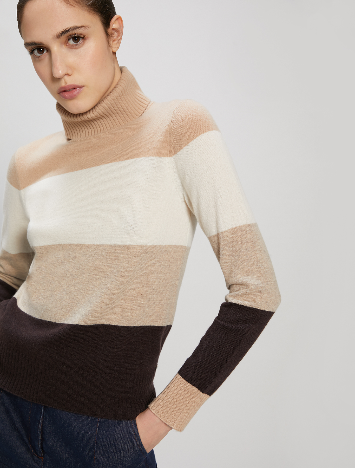 Wool and cashmere turtleneck - brown pattern - pennyblack