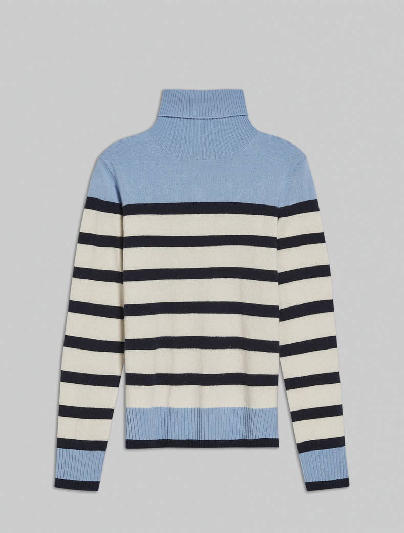 Wool and cashmere turtleneck - light blue pattern - pennyblack