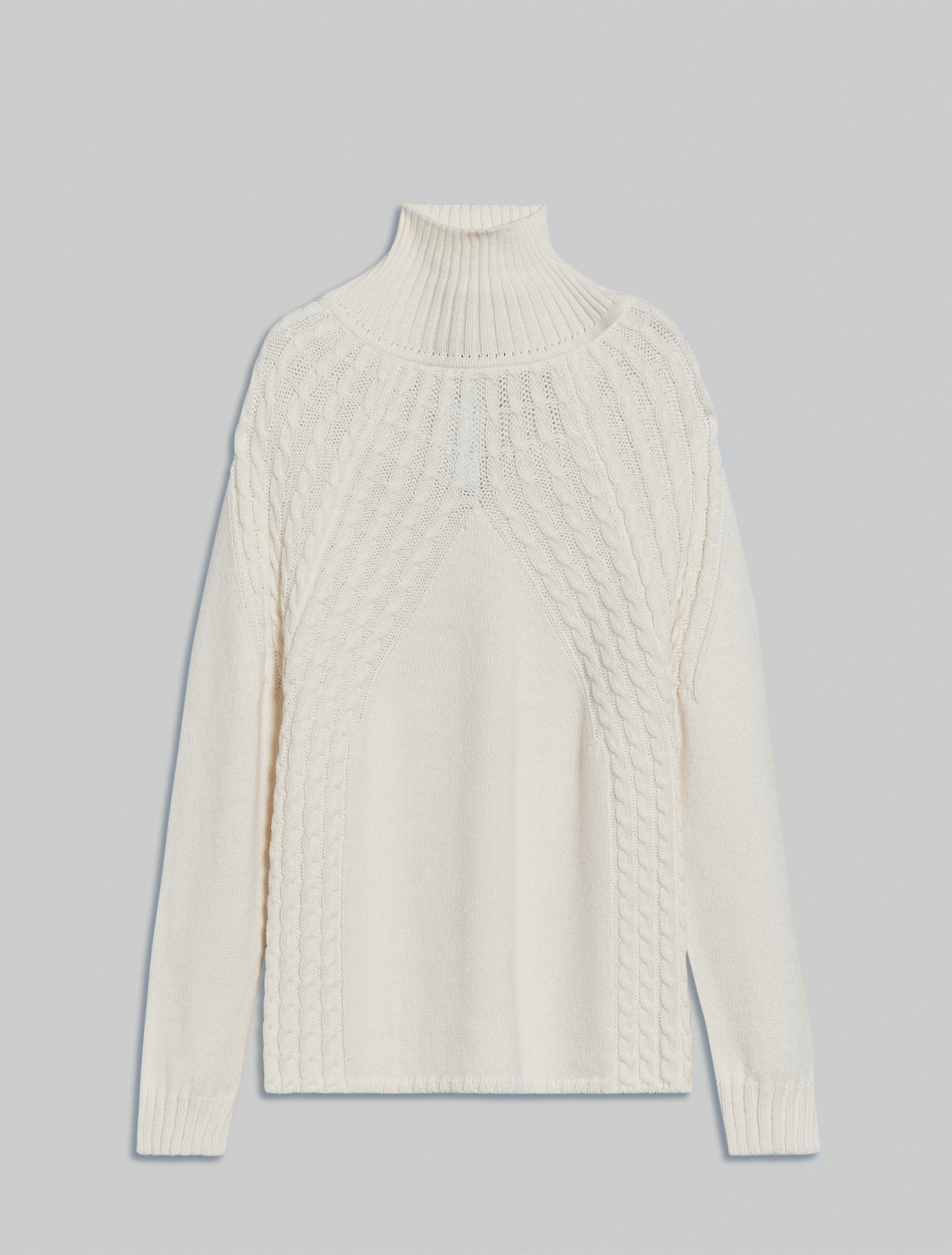 High-neck plait jumper - white - pennyblack