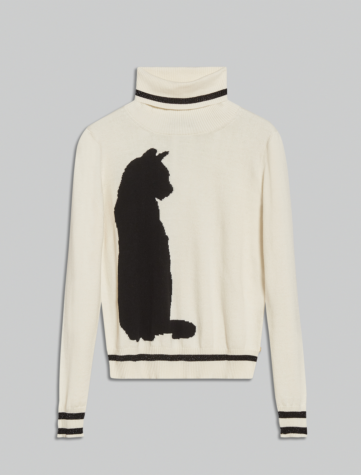 Jumper with cat inlay - white - pennyblack