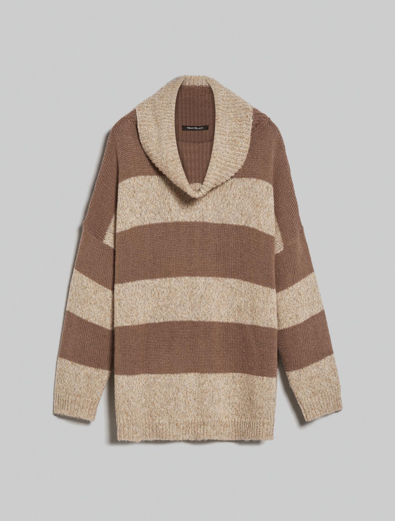 Oversized lamé jumper - beige - pennyblack