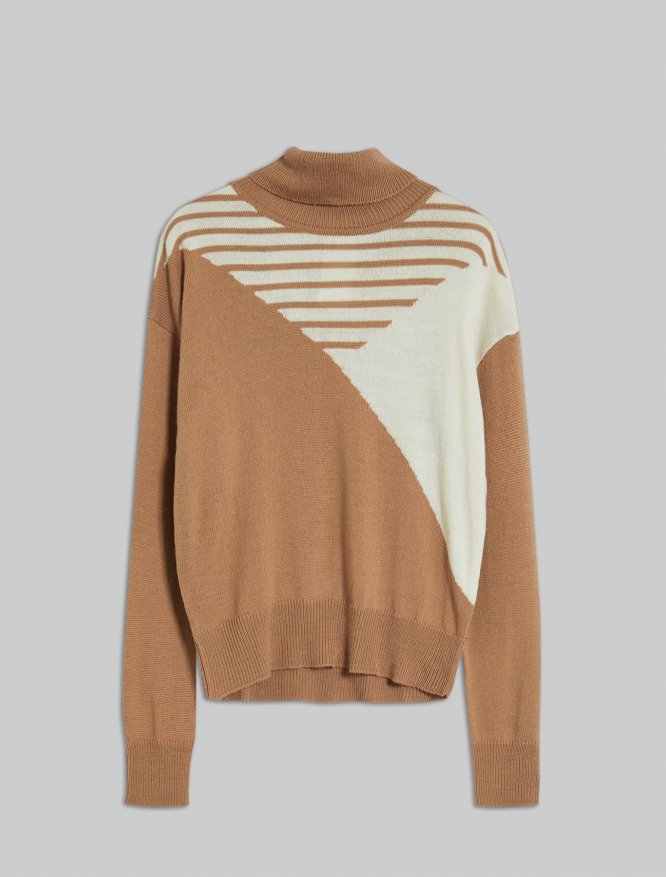 Jumper with geometric inlay - camel - pennyblack