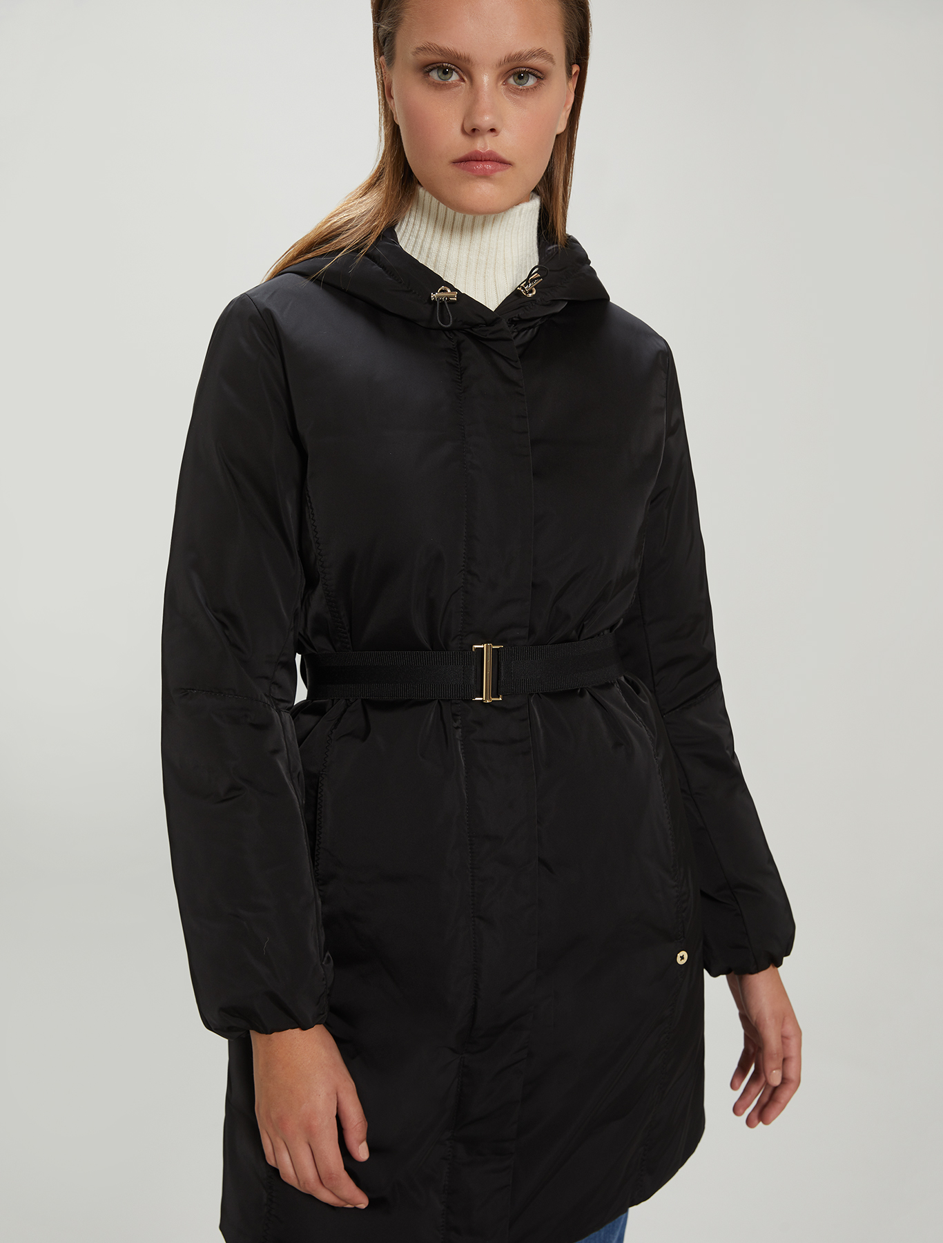 Padded coat in techno-satin - black - pennyblack