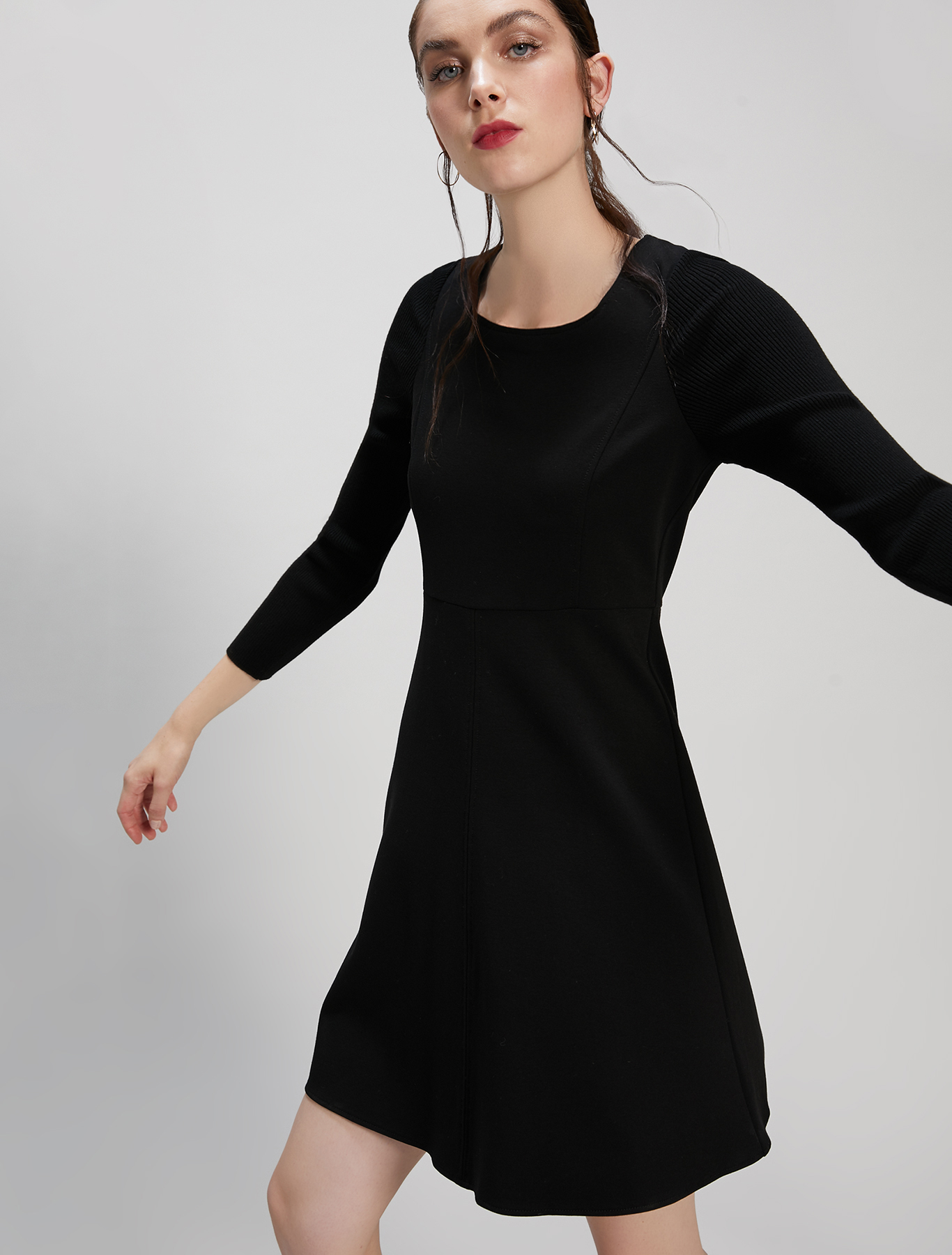 Jersey and knit dress - black - pennyblack