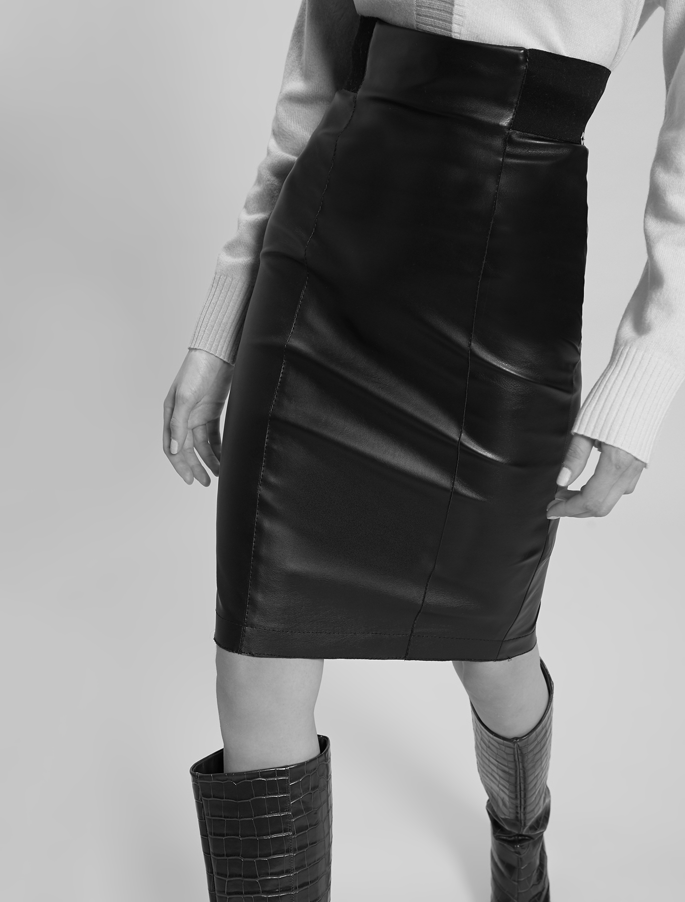 Coated jersey skirt - black - pennyblack