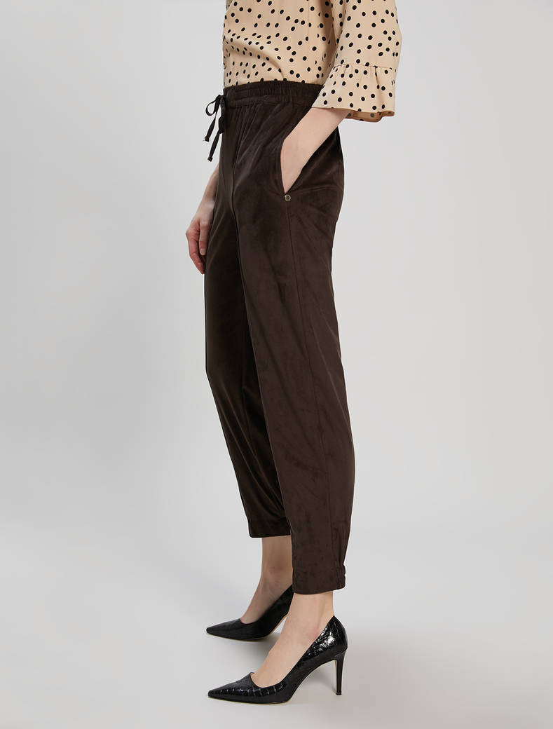 Joggers in velvety jersey - dark brown - pennyblack