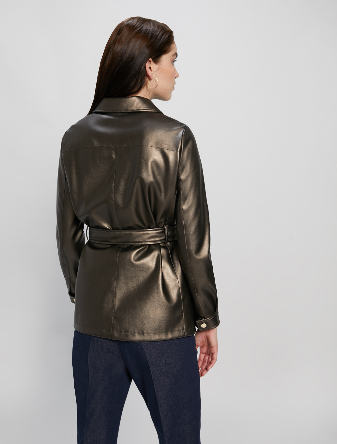 Laminated jersey safari jacket - bronze - pennyblack