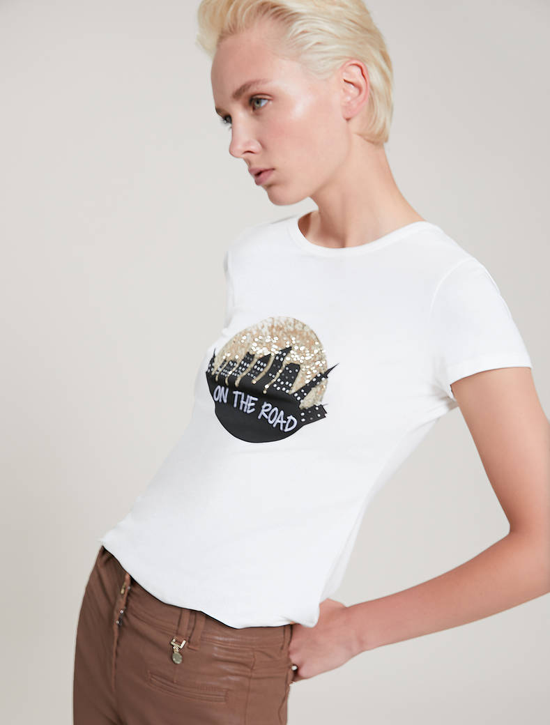 Embroidered sequin T-shirt - optic white - pennyblack