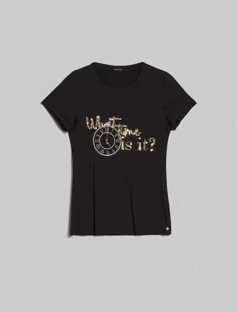 Embroidered sequin T-shirt - black - pennyblack