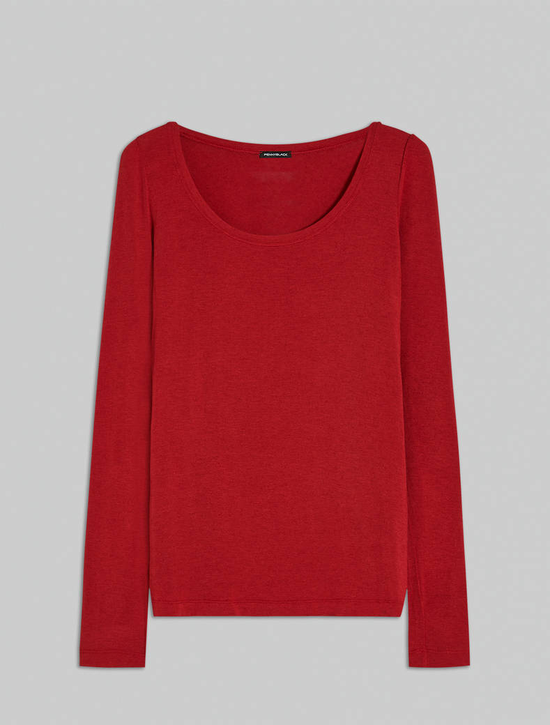 Modal and cashmere T-shirt - red - pennyblack