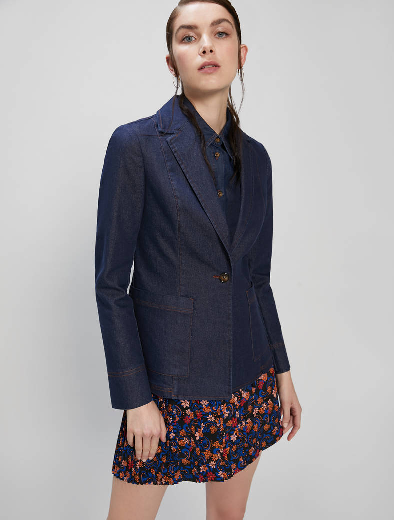 Slim blue denim blazer - midnight blue - pennyblack