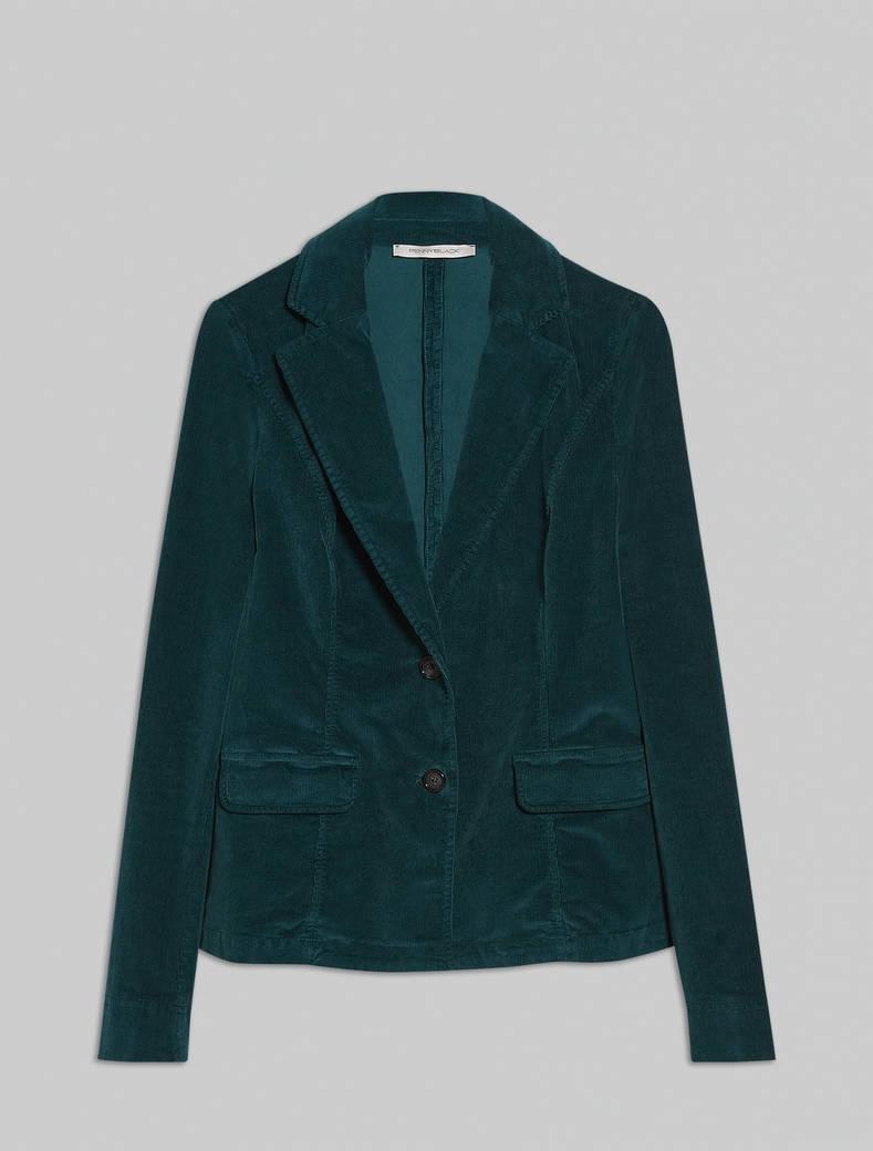 Ribbed velvet blazer - green - pennyblack