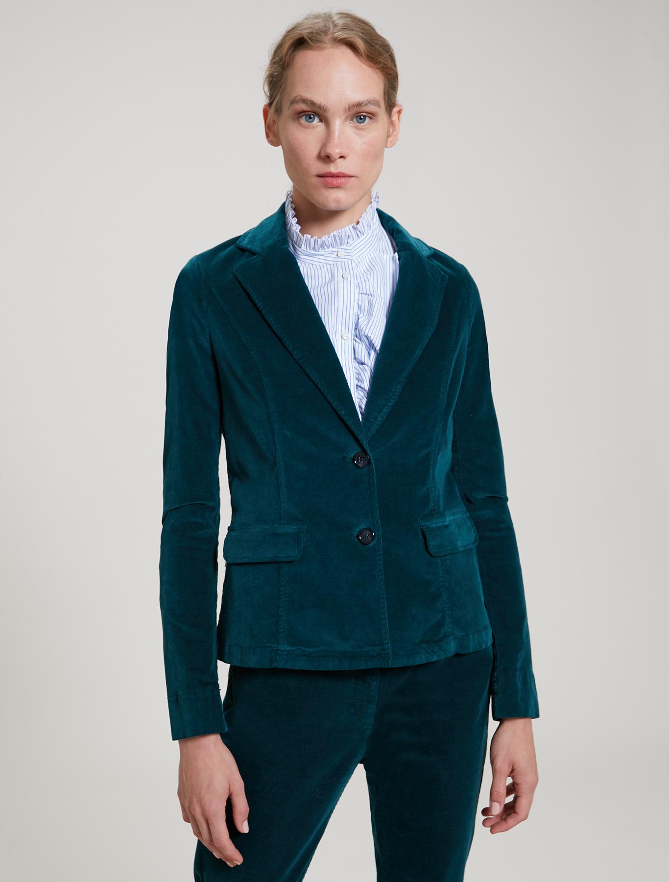Blazer in velluto millerighe - verde - pennyblack
