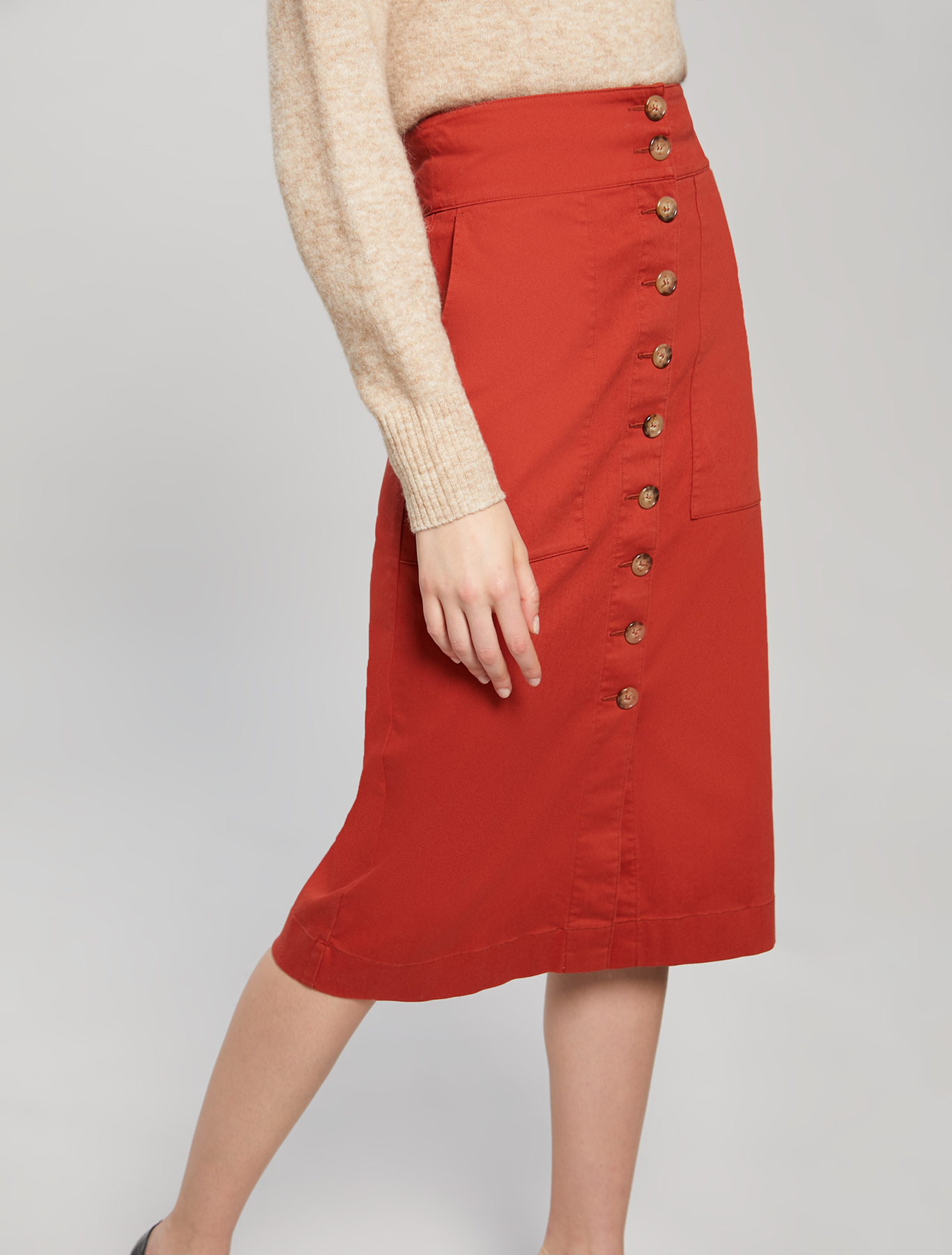 Gabardine midi skirt - brown - pennyblack
