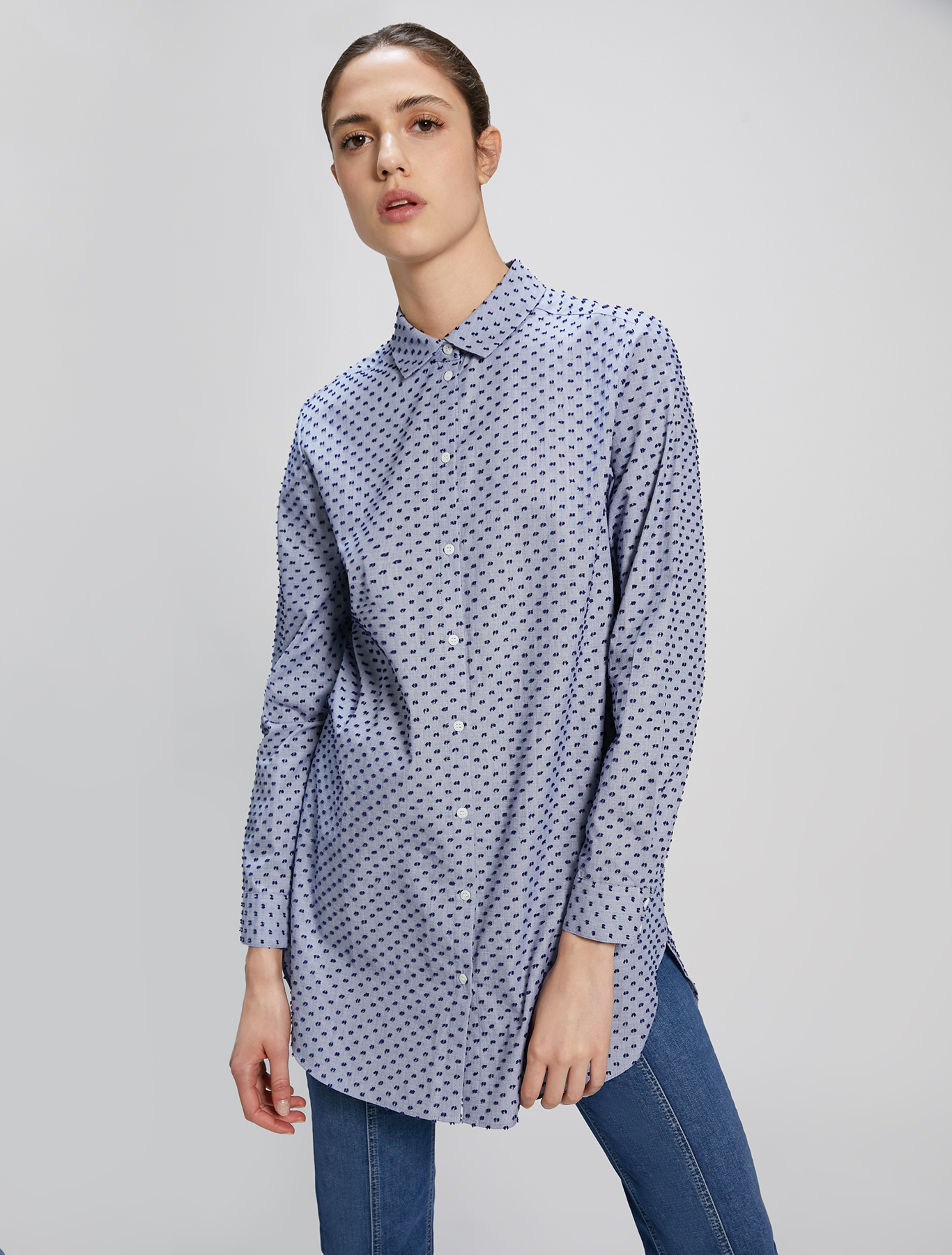 Fil coupé cotton shirt - light blue pattern - pennyblack