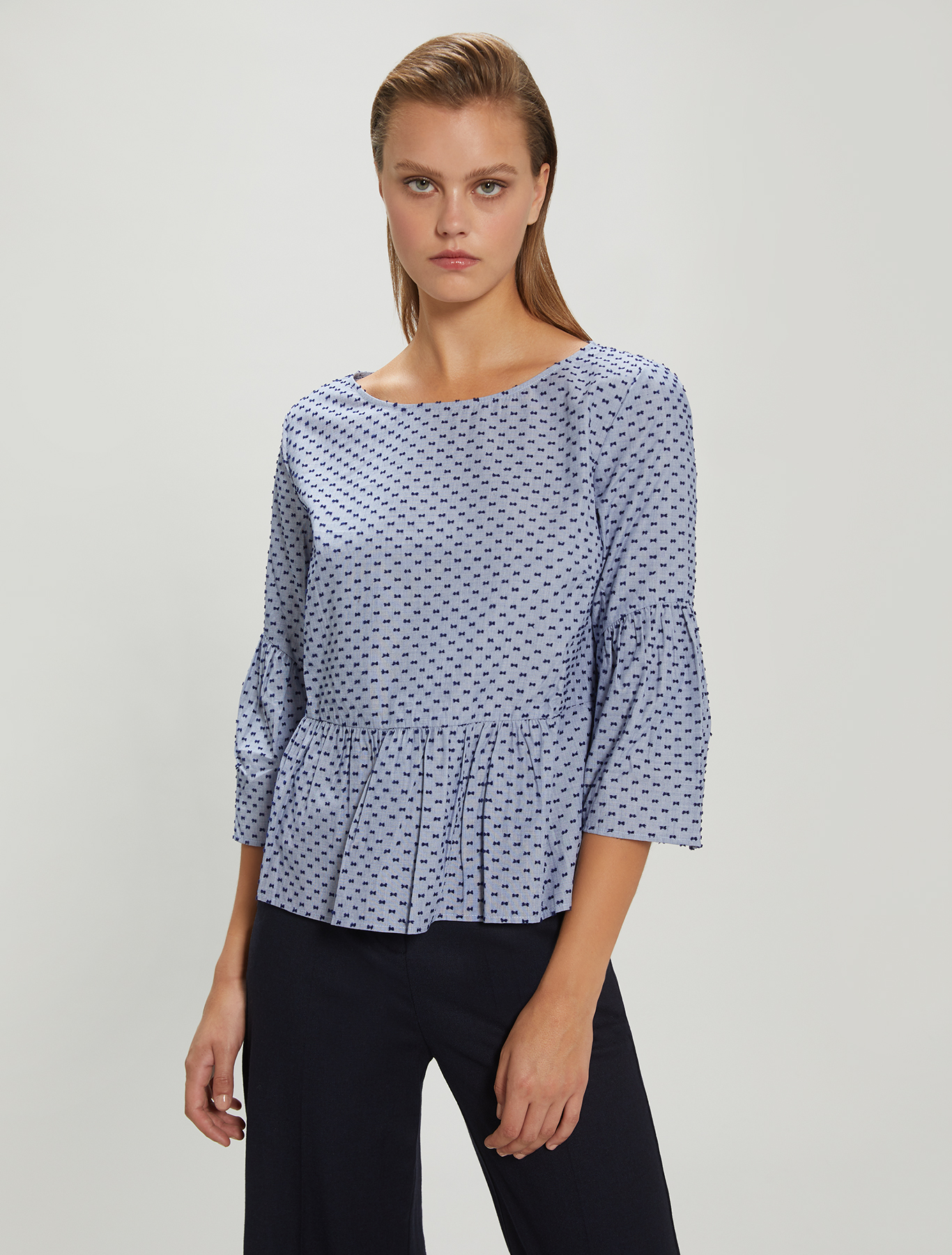 Fil coupé cotton blouse - light blue pattern - pennyblack